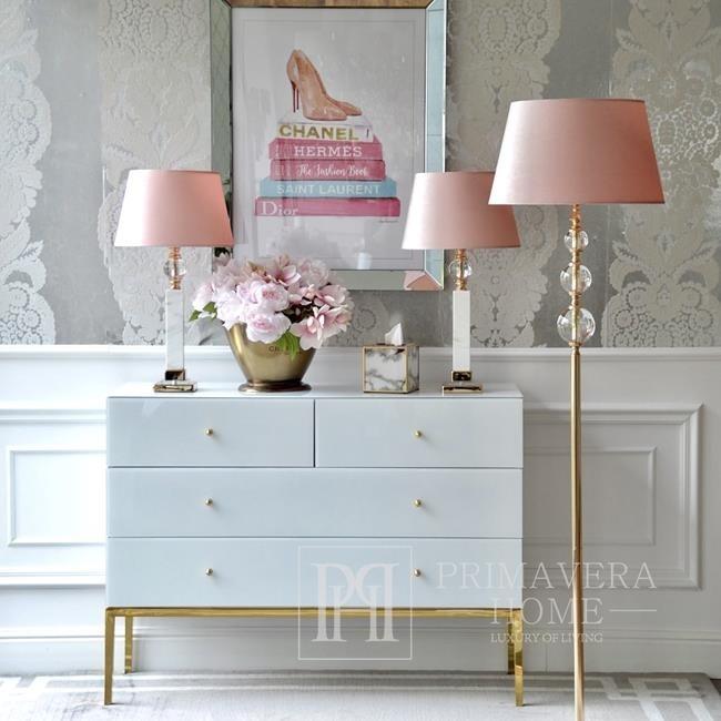 Kommode aus Glas im Franco Glamour Stil, Stahlbeine, Superweißgold OUTLET