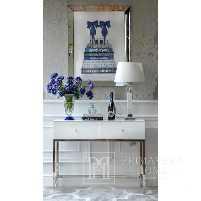 Glamour - Konsole modern Hochglanz Schminktisch New York weiß FRANCO SILBER OUTLET