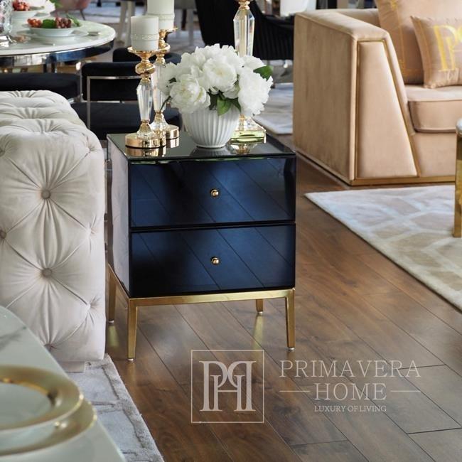 Glass bedside table Franco for the bedroom glamor black, gold OUTLET