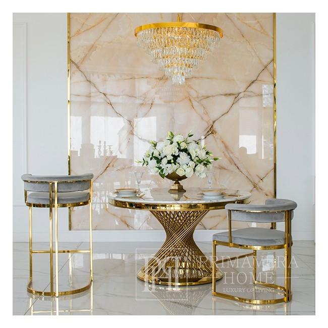 Hocker modern glamour für Esszimmer, Bar, Kücheninsel gold grau MARCO