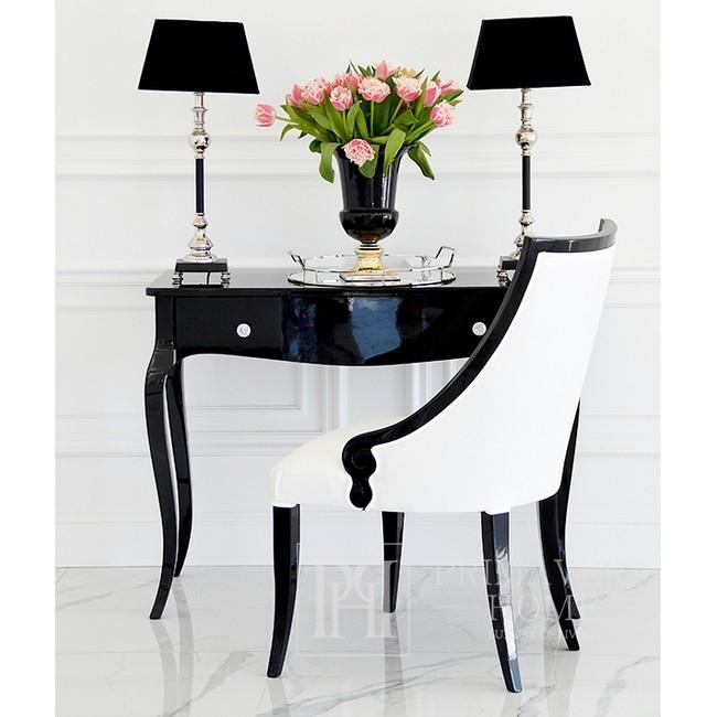 Glamour Gloss Konsole, gebogene Beine ELENA GLAMOUR schwarz weiß