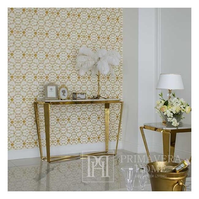 Konsola glamour złota z białym konglomeratem  RALPH