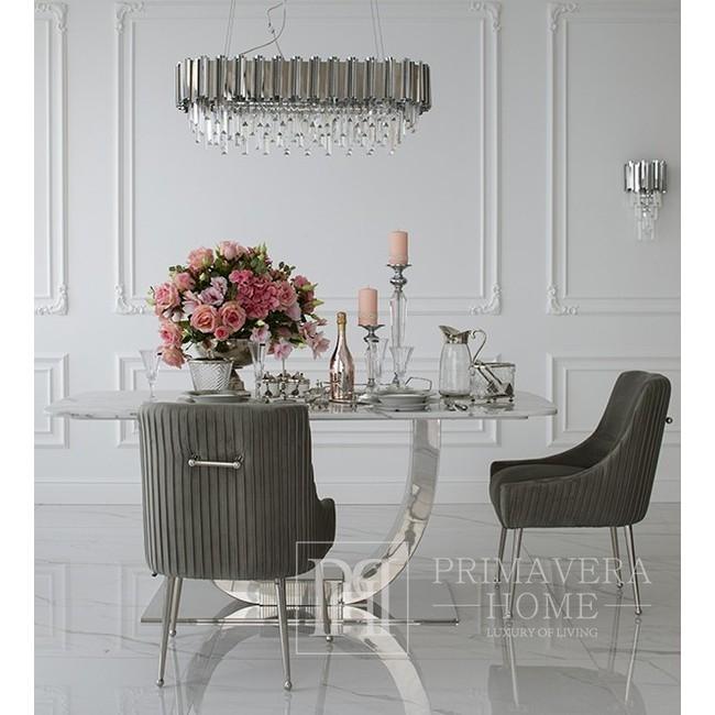 Lampa wisząca srebrna żyrandol z kryształkami glamour nowojorski EMPIRE SILVER L