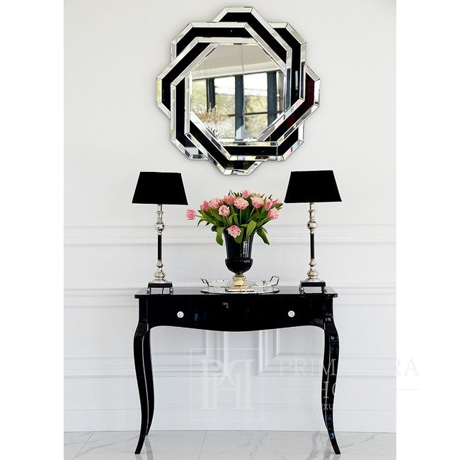 Abgerundeter geometrischer Spiegel in einem dekorativen schwarz-weißen Rahmen DUNE BLACK WHITE