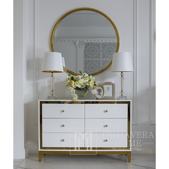Runder Glamour-Spiegel in goldenem VENA-Rahmen