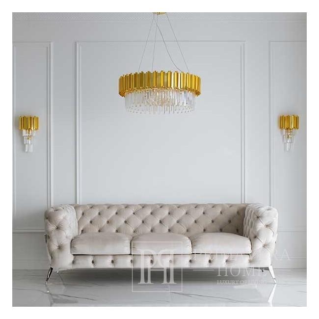 Sofa glamour DIVA SILVER tapicerowana nowoczesna nowojorska  czarna srebrna