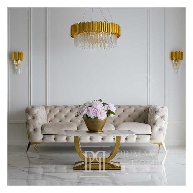 Sofa glamour tapicerowana nowoczesna pikowana złota DIVA GOLD