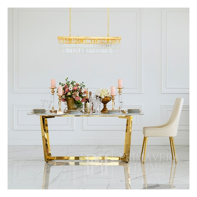 KENT exclusive steel gold table with white marble glamour top