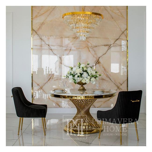 Stół glamour okrągły z białym marmurowym blatem, stalowy nowoczesny złoty ANTONIO GOLD