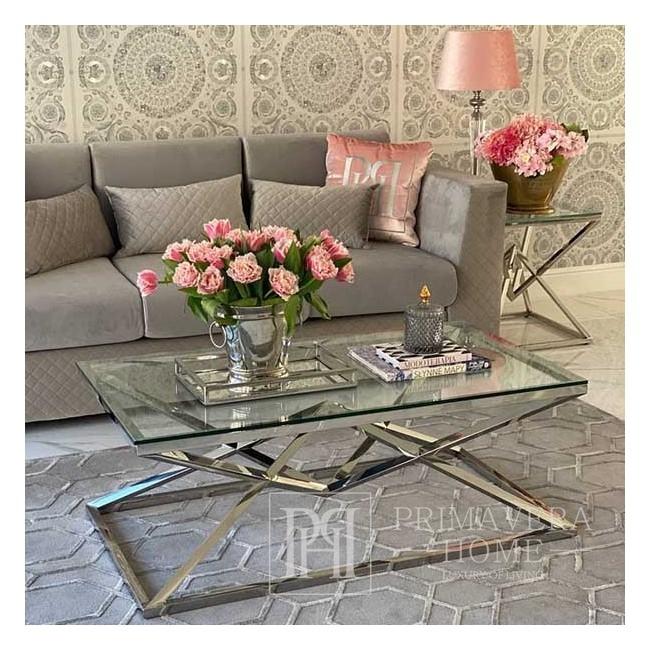Couchtisch Glamour modern New York Stahl Glas Silber CONRAD