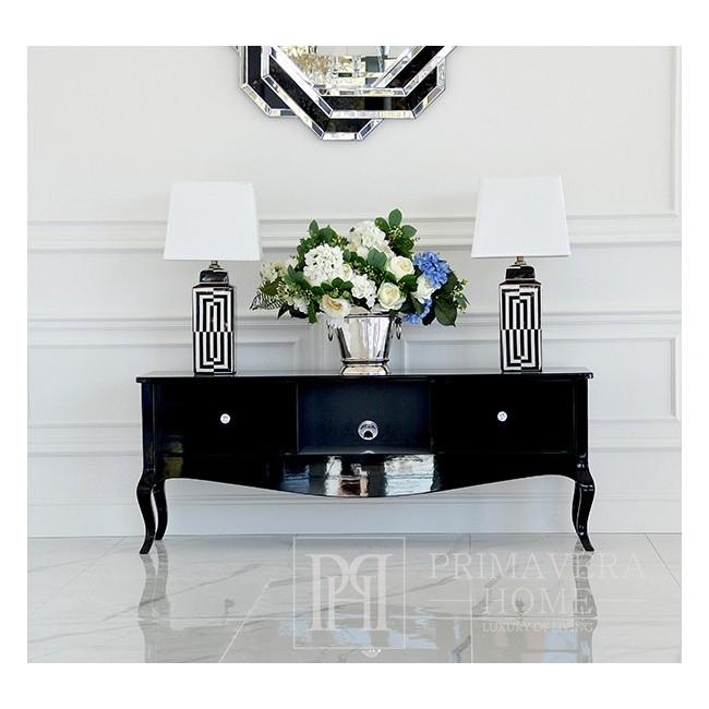 Stylowa szafka stolik RTV komoda połyskiem, gięte nogi czarna biała ELENA GLAMOUR