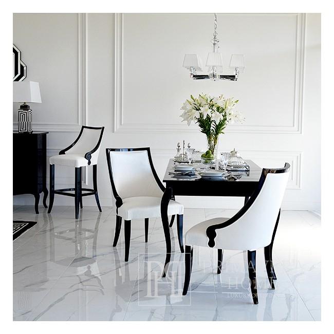 Stilvoller Esstisch schwarz weiß glänzend, gebogene Beine ELENA GLAMOR