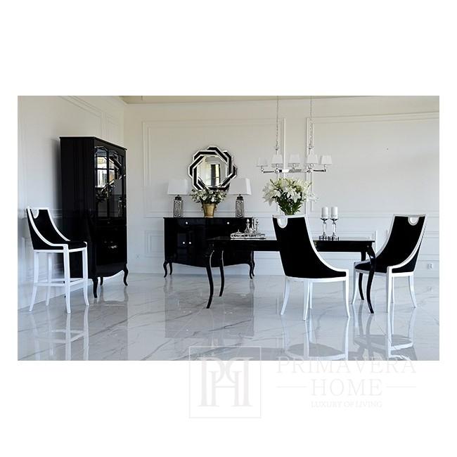 Glasvitrine für das Wohnzimmer, gebogene Beine in Glanz ELENA GLAMOR