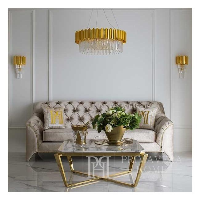 Żyrandol złoty lampa sufitowa wisząca kryształowa glamour nowojorski nowowczesny okrągły EMPIRE GOLD M
