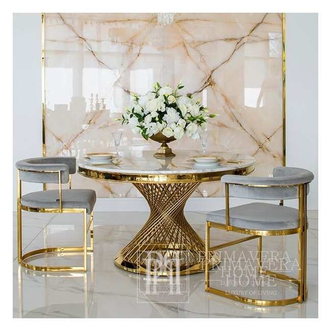 MARCO modern grey gold glamour upholstered chair for living and dining room