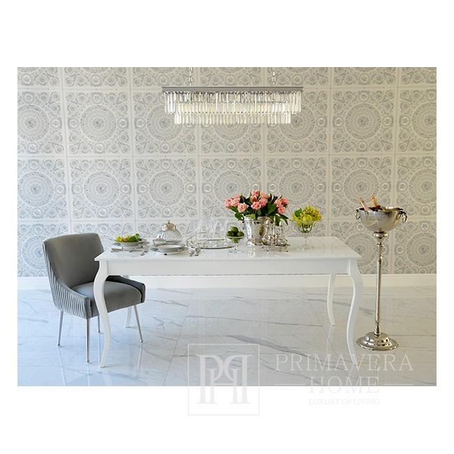 Lampa srebrna wisząca żyrandol nowoczesny kryształowy podłużny prostokątny srebrny GLAMOUR 100 silver