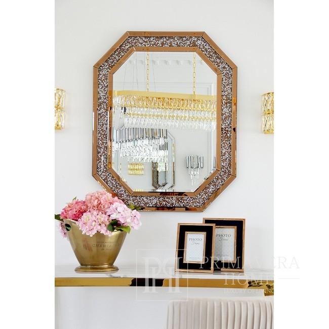 Lustro diamentowe glamour w złotej ramie lustrzanej geometryczne 100x80 RARE GOLD