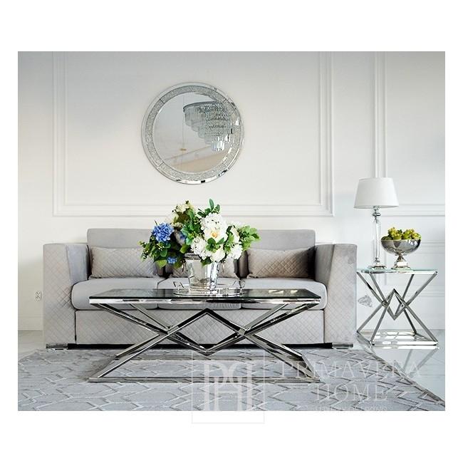 Couchtisch CONRAD Glamour modern New York Stahl Glas Silber OUTLET