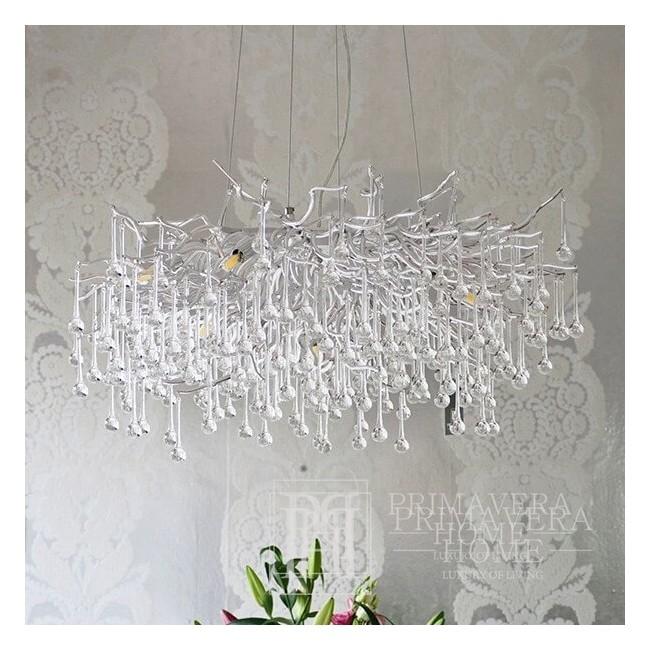 Chandelier, glamour ceiling lamp, modern hanging lamp RAIN M SILVER
